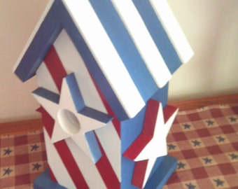Patriotic Birdhouse / Handmade Decorative Birdhouse / Red White And Blue Birdhouse / Handmade