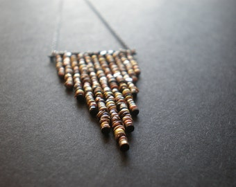 Hippie Mixed Metal Bead Necklace | Geometric Chevron Arrow Necklace | Triangle Necklace | Edgy Long Necklace | Bohemian Boho Chic | Gift BFF