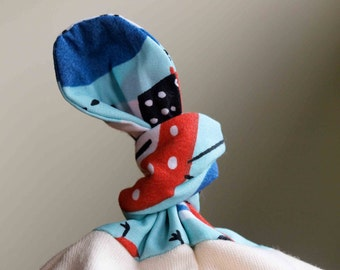 Sale, Save 40% Organic Knotty Hat in CLUCK CLUCK, Blue and Red Organic Farm Hens Newborn Baby Cap by Organic Quilt Company