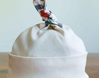 Sale, save 40% Knotty Baby Hat BRIGHT CHEVRONS, Organic Cotton Chevron Stripe Newborn Cap, Gender Neutral Baby hat, Handmade Baby Accessory