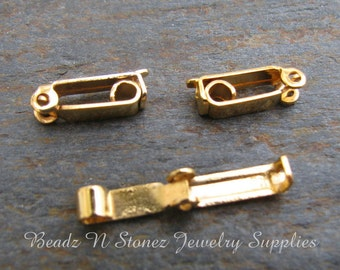 BULK LOT 50 CLASP - Gold Plated Fold Over Clasp 3x13mm