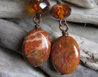 Fossil Coral Stone and Czech Glass Copper Dangle Earrings