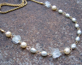 Eco-Friendly Statement Necklace - Speaking in Whispers - Recycled Vintage Rope Chain, Creamy White Glass Pearls & Clear Frosted Flower Beads