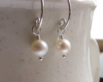 Sterling Silver Tiny Hoops, Pearl Hoops- Tiny Dangles, Bridesmaids Small Pearl Earrings, Silver Hoops, Pearl Bridal Earrings
