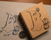 Ghost trick or treat rubber stamp WM P26