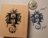 P41 Monogram H, Decorative  Rubber Stamp WM love birds