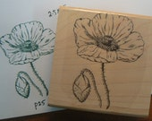 Poppy flowers rubber stamp P25