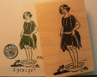 Bathing beauty rubber stamp p34