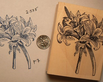 Lily boquet flowers rubber stamp  P17