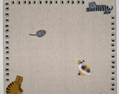 Kitty Bulletin Board with Cat and Mouse Push Pins