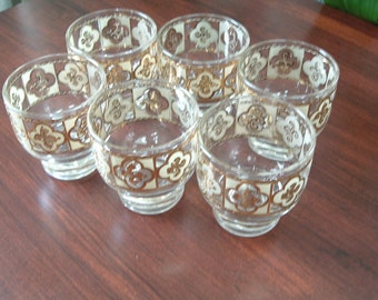 vintage  old fashion low ball cocktail glass set  with frosted scroll gold design