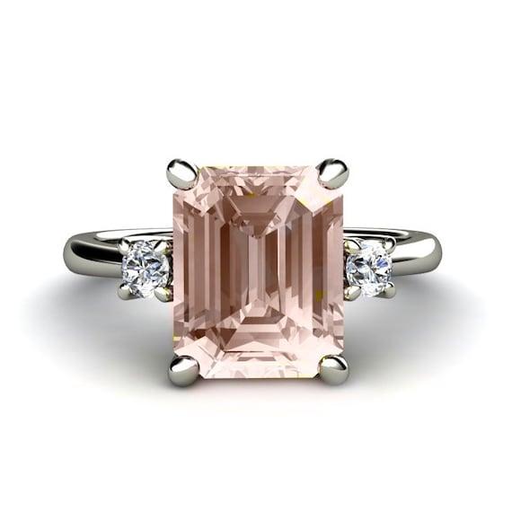 Emerald Morganite Engagement Ring 3 Stone Morganite By