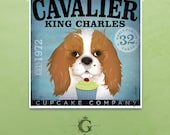 Cavalier King Charles Cupcake Company graphic art giclee archival print by stephen fowler Pick A Size