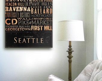Seattle neighborhoods typography graphic art on gallery wrapped canvas by stephen fowler