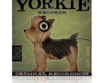 Yorkie records Yorkshire terrier album style artwork original illustration on gallery wrapped canvas by stephen fowler
