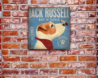 Jack Russell dog fishing Bait and Tackle fishing illustration Canvas artwork graphic on gallery wrapped canvas
