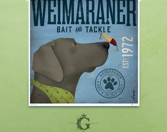 Weimaraner dog bait and tackle lure company graphic illustration giclee archival signed print by stephen fowler Pick A Size