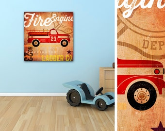 Transportation train car truck airplane firetruck graphic childrens wall art gallery wrapped canvas by stephen fowler