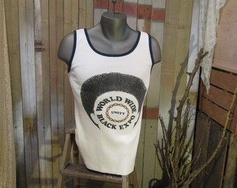 Vintage 70s Afro World Wide Black Expo T shirt 73  Tank top cotton tshirt M