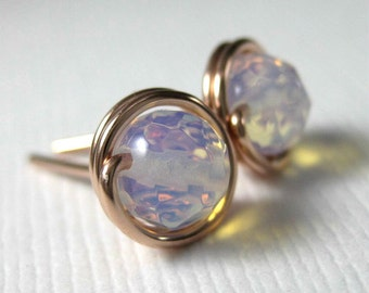 Rose Gold Wire Wrap Stud Earrings 6mm Opal Quartz -- Simply Studs