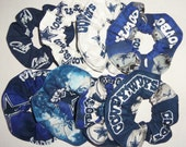Dallas Cowboys Hair Scrunchie NFL Football Navy White Camo Tie Dyed Duck Cloth Fabric Scrunchies by Sherry