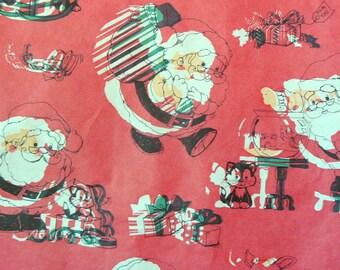Vintage Christmas Wrapping Paper - Cute Retro Santas