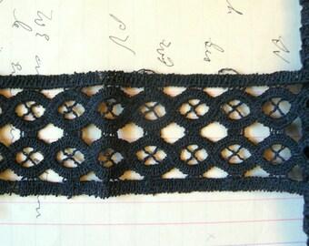 Vintage Black Flat Lace Trim with unique open Battenburg like design - 2 yards