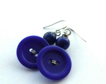 Navy Blue Earrings - Repurposed Vintage Button Jewelry