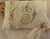 Linen Sachet  Set with  Monogram G in sage Green Floral Woven Jacquard Ribbon Trim