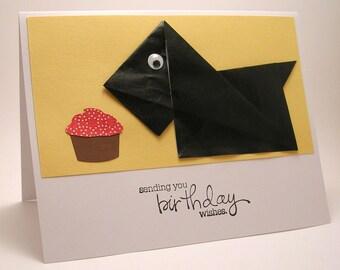 Origami Scottish Terrier Birthday Card