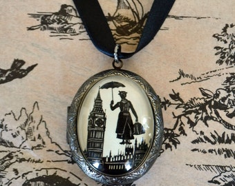 Sale 20% Off // MARY POPPINS Locket Necklace - locket pendant on ribbon - Silhouette Jewelry // Coupon Code SALE20