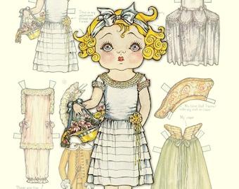 Printable Vintage Paper Doll Betty Bobbs sister Bonnie Bobbs Instant Download
