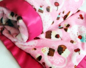 Cupcake Baby Blanket Girl Pink Minky Birthday Blanket