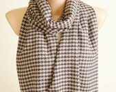 Houndstooth Scarf - Cream and Blue, Brown -  Long Scarf - Wrap Scarf-Men Scarf