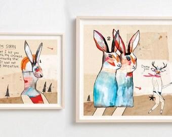 Art Prints, Illustration, Drawing, Animal masks, Quirky art, Humor, Fun Wall decor, Art gift, Colorful art, Sorry