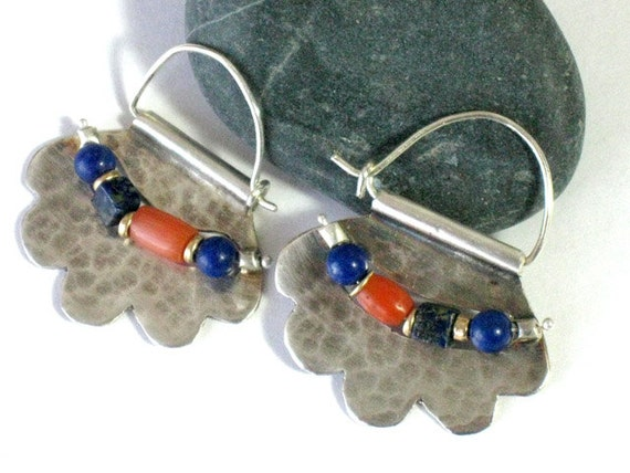 Beaded Earrings, Ancient Coral Beads, Beaded Ear Hoops, Sterling Silver, Genuine Lapis Beads, Coral and Lapis, Sterling Gemstone Beads