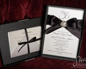 Boxed Wedding Invitation - Monogram with Crystal Brooch and Satin Ribbon - SAMPLE
