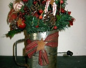 Primitive Christmas Decor-Centerpiece-Vintage Bromwells Sifter-Greens-Apples-Berries-Poinsettias-Pine Cones-Candy Cane-Rusty Stars