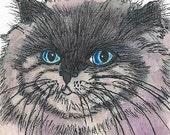 Long Haired Birman Cat Bookmark Original Watercolor Ink Art