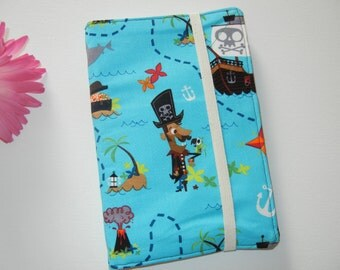 SALE Fabric Notebook Notepad Cover with Pirates