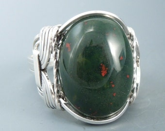 Sterling Silver Heliotrope Bloodstone Wire Wrapped Ring
