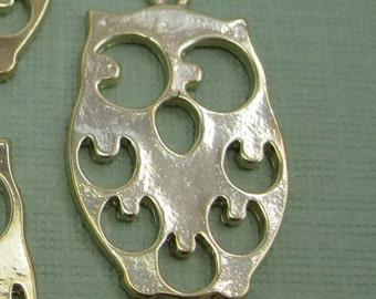 6 Large Gold Owl Pendant Charm Beads