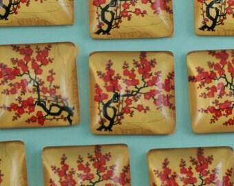 6 Glass SquareTree Flower Cherry Blossom Cabochons Flat Back 20mm