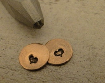 teeny tiny Design Stamp - SOLID HEART - 2mm stamped image by WonderStruck Studios -  includes How to Stamp Metal tutorial