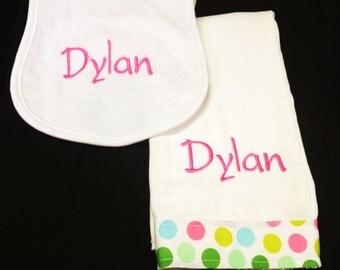 Monogrammed Burp Cloth and Bib |2 piece Set | Custom |Personalized | Monogram | Lucy's Pocket