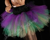 Mardi gras Streamer tutu skirt three tier purple green yellow adult carnival costume halloween run - You Choose Size - Sisters of the Moon