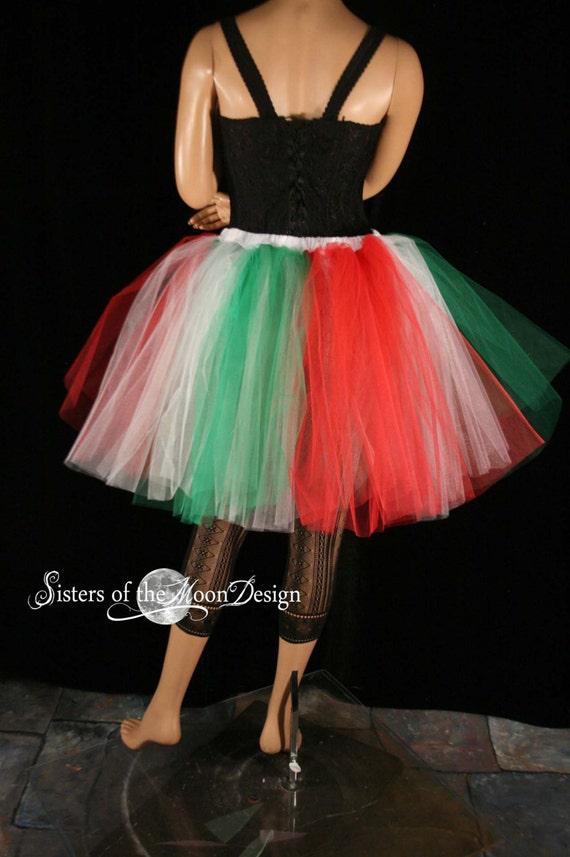 Adult tutu skirt romance christmas elf white green red costume italian