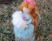 Shehpherdess and her lamb needl felted maiden Waldorf inspired  By Rebecca Varon - made to order