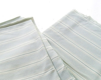 """Light White Green Fabric  Early 70s with subtle stripes, Stretch fabric Medium Weight 82"""" X 54""""."""