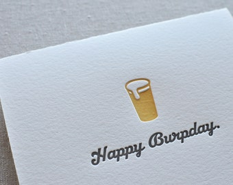 Letterpress Happy Burpday Birthday Card with Envelope